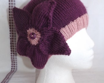 PATTERN - Knitted Hat Pattern - Knitted Beanie Hat Pattern - Pattern for Knit Beanie Hat with Flower