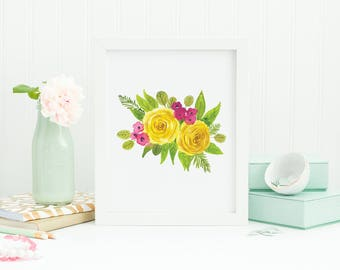 Yellow roses painting, watercolor bouquet painting, Loose watercolor floral, Loose watercolor flowers
