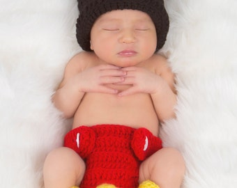 Crocheted Mickey Mouse Photo Prop for Infant - Size 0-3