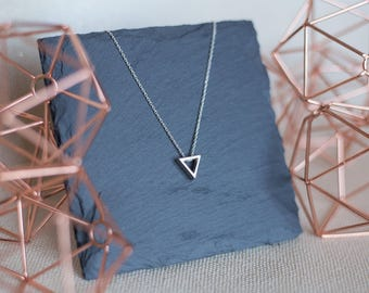 Silver 3D Triangle Necklace | 925 Sterling Silver Necklace | Modern Minimalist Pendant |  Geometric Jewelry | Everyday Necklace