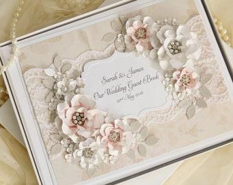 Large wedding guest book, vintage wedding guest book, dusky pink wedding, lace guestbook, wedding decorations, wedding sign book, rose pink