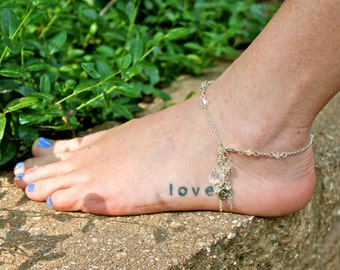 Raining Gems Beaded Chain Anklet with a Cascade of Chain and Gems CLEAR