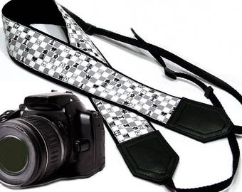 Chess camera strap. Game Camera strap. Grey Black White SLR/ DSLR Camera Strap. Camera accessories by InTePro