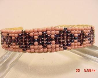Vintage Handmade Pink & Black Bead Leather Backed Cuff Bracelet.   16 - 929