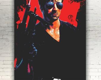 "Cobra - CANVAS - 16""x12"" - artwork print on cotton canvas - alternative movie poster Sylvester Stallone 1986 Brigitte Nielsen"