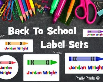 School Labels, Back to School Label Set, Personalized Stickers, Personalized Labels, School Supply Labels - Crayon Labels