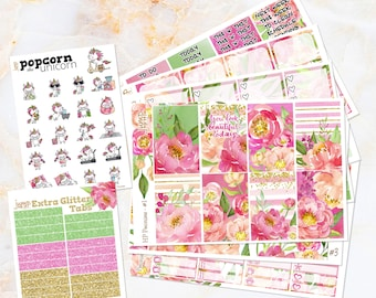 Peonies floral spring summer weekly set / kit stickers - for classic/medium HAPPY PLANNER - Mother's Day watercolor pink coral Popcorn t
