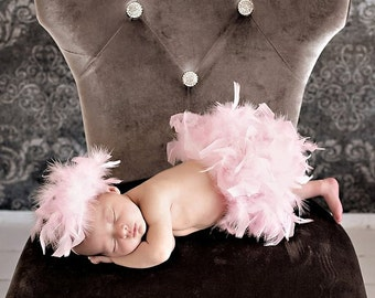 Pink Feather Bloomer & Headband Set, Pink Feather Diaper Cover, Newborn Photo Outfit, Feather Tutu, Baby's 1st Easter, Newborn Feather Skirt