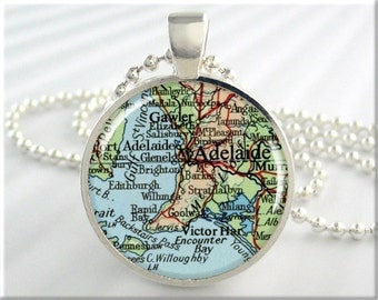 Adelaide Map Pendant, Resin Charm, Adelaide Australia Map Necklace, Picture Jewelry, Map Charm, Gift Under 20, Round Silver 703RS