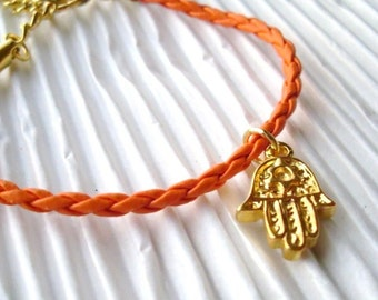 Hamda Bracelet, Gold Hamsa Charm, Orange Faux Leather Bracelet, birthday gift, Black Friday sale, Holiday Gift, Thank you gift for her
