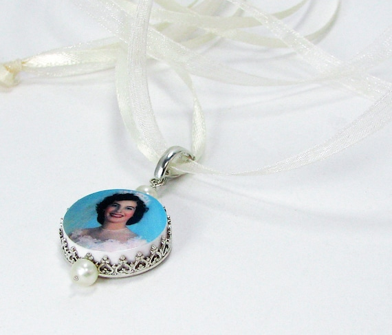 Small Photo Memorial Charm with the Sterling Princess Frame - FBC15P