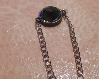 Metal - deep blue and green stone ring