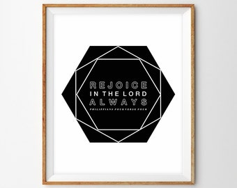 Black and White Modern Geometric Scripture Print - Rejoice in the Lord (Philippians 4:4)