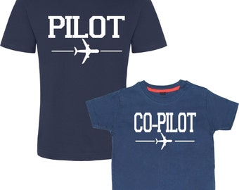 Pilot and Co-Pilot, Matching Father Son, Daddy Birthday Gift, Father's Day Gift, Dad And Son T-shirts, Set Of Two