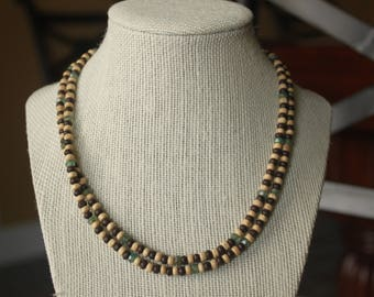 Wood and Glass Beaded Necklace