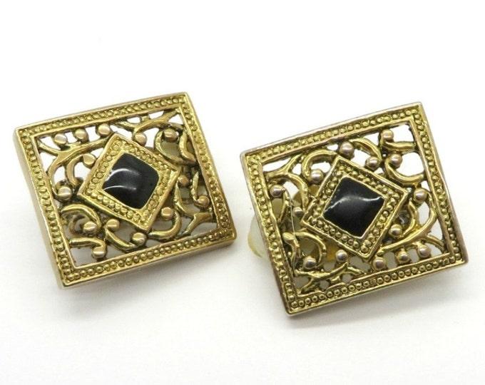 Faux Onyx Earrings, Vintage Gold Tone Openwork Clip-on Earrings