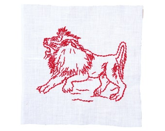 FREE SHIPPING: Vintage Embroidered Quilt Block - Red Lion on White Fabric Square - Hand Stitched Quilt Piece
