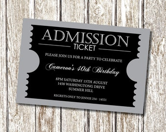 Admission Ticket Invitation - formal - Personalised and Printable