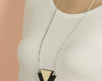 Wooden NECKLACE: DOUBLE TRIANGLE