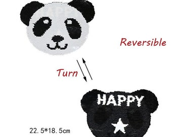 panda sequined applique, reversible, black and white, sequined, 22.5 * 18.5 cm