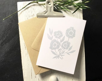 Peony Note Cards [Pale Blue] 10pk