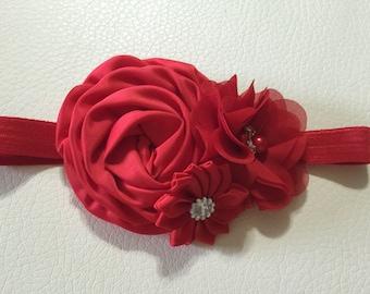 Red Flower Baby Headband , Baby Headband , Flower Girl Headband ,Baby Headbands ,Christmas Baby Headband