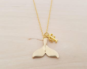 Whale Tail Charm - Gold Whale Necklace - Personalized Necklace - Custom Initial Necklace- Gold Necklace