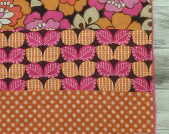 Plush fleece Baby Blanket/Modern Quilt - boho floral - pink, brown, orange