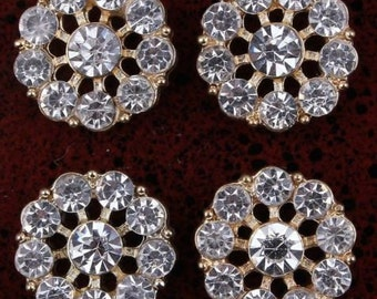 slightly more than 1/2 Inch ( 13mm)  Clear Alloy Rhinestone Flatback Buttons set of 2 gold or silver