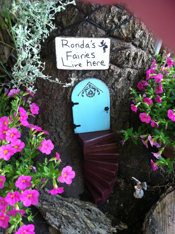 Fairy Garden, Gift Set, Fairy Door, Miniature Garden, Garden Decor, Gifts  For Her, Housewarming, Birthday, Outdoor, Tree, Blue Fairy Door