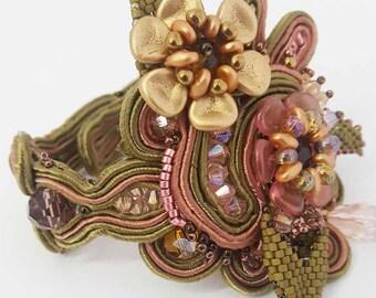 Soutache Bracelet The flower garden light, delicate, elegant and fashionable