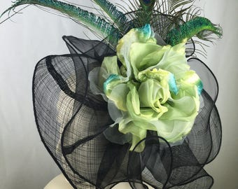 Kentucky Derby Black Fascinator, Green  Flower Fascintor Hat, Red Kentucky Derby Hat