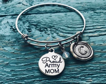 Proud army mom, Army gifts, Army,  Daughter, Son, Soldier, army Mom, Deployment, Mom of Soldier, Gifts for, Silver Bracelet, Charm Bracelet