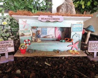 Fairy Garden Miniature Beachcomber Beach Kiosk OOAK Cottage Cabana fairy house door