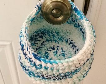 Hanging Crochet Basket Blue and White Home Decor - Key Holder, Basket to Hang, sewrm