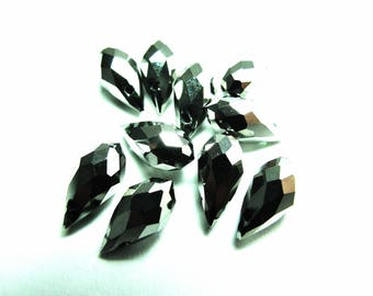 6 GLASS 6/12 MM HEMATITE FACETED DROPS