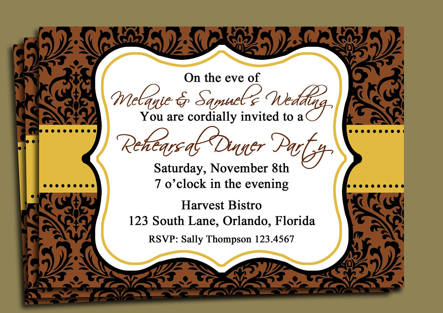 Brown Damask Invitation Printable Fall Party Thanksgiving
