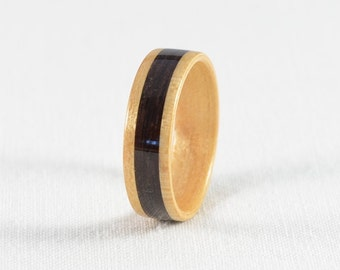 Wood Ring - Bentwood Maple Ring with Ebony Wood Inlay - Wedding Ring, Wedding Band, or Engagement Ring - All Natural - Handmade