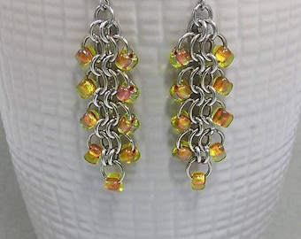 Chainmaile earrings, stainless steel chain mail jewelry , yellow lime beaded earrings