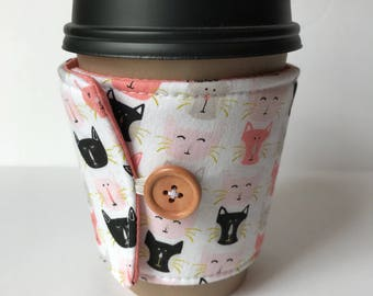 Smiling Kitty Coffee Cup Cozy - Cup Cozy - Reusable Cup Sleeve - Ice Cream Sleeve - Gift Idea