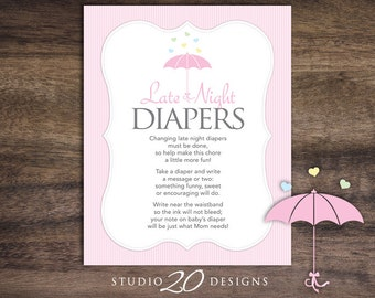 Instant Download Baby Sprinkle Late Night Diapers, 8x10 Pink Umbrella Diaper Thoughts, Pink Girl Baby Shower Decorate Diaper Activity 64A