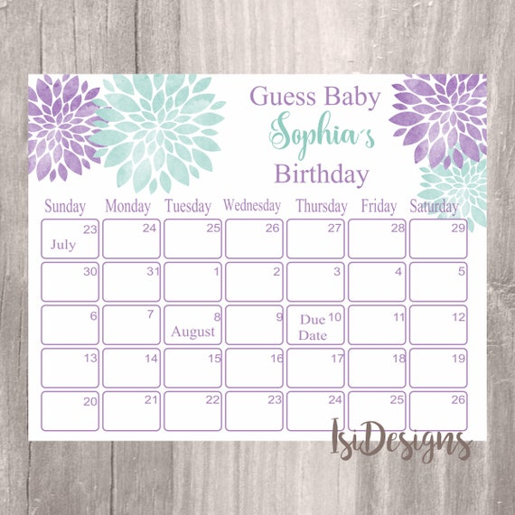 Personalised New Baby Or Birthday Card By Mint Nifty: Baby Shower Guess Baby's Birthday Personalized Floral