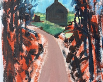Maysie's farm, winter 2017, ORIGINAL oil on canvas board landscape painting by Shirley Kanyon, 11.8x7.9 inch, 30x20 cm