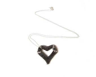 Black Heart Pendant Necklace, Seed Bead Heart Necklace, Beadwork Pendant, UK