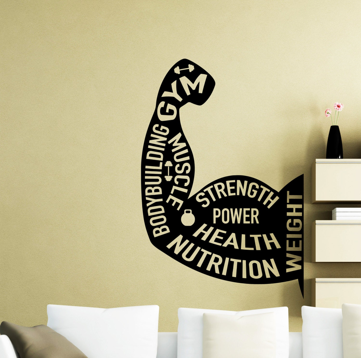 Gym Wall Decal Bodybuilding Arm Muscles Motivational Words Gym