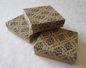 10 Gift Boxes, Jewelry Gift Boxes, Kraft Boxes, Damask Print, Bracelet Box, Necklace Box, Wedding Favor Boxes, Cotton Filled 3.5x3.5x1