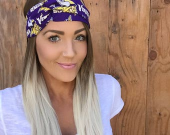 Minnesota Vikings Vintage Pinup Turban Headband || Hair Band Football Cotton Workout Yoga Fashion Purple Yellow Gold White Head Scarf Girl