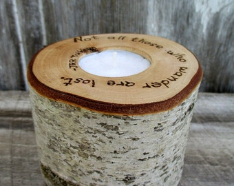 Candle of Birch Wood with Tolkien Quote