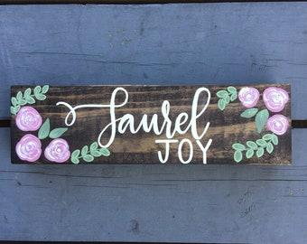 Nursery Name Sign, Custom Name Plate, Handpainted Wooden Sign for Bedroom, Nursery Decor, Bedroom Decor, Baby Gift, Custom Name Sign