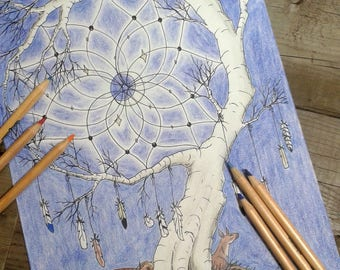 dream catcher colouring page, adult colouring, printable colouring page, fairy